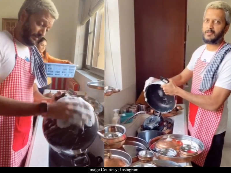 Riteish Deshmukh washes dishes in the kitchen while wishing Ajay Devgn on his birthday – watch video