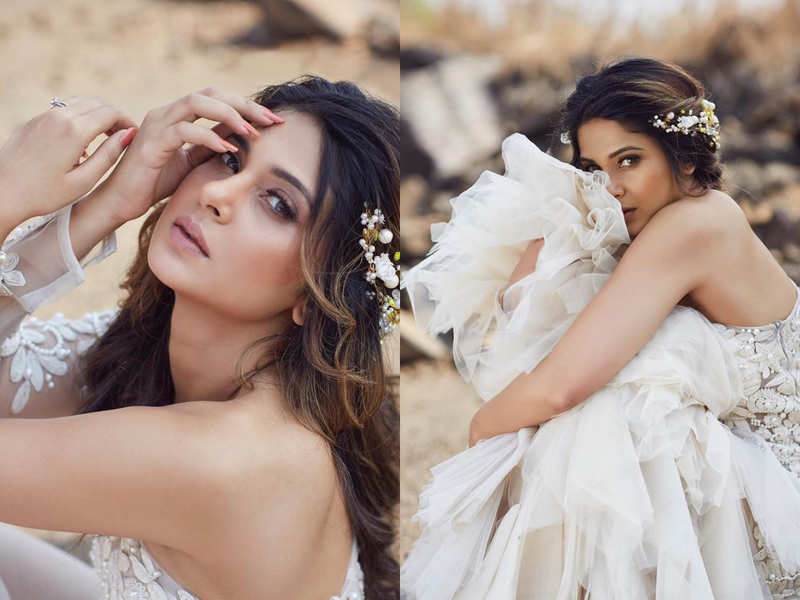 Jennifer Winget looks like a NEW bride in this white peacock gown