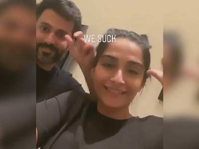 Sonam takes up gesture challenge with hubby