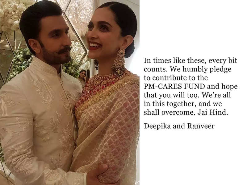 """Deepika Padukone and Ranveer Singh pledge to contribute to PM Cares fund, """"We're all in this together, and we shall overcome"""""""