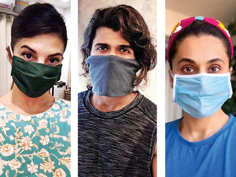 Jacqueline Fernandez, Vijay Deverakonda, and Taapsee Pannu wearing face masks