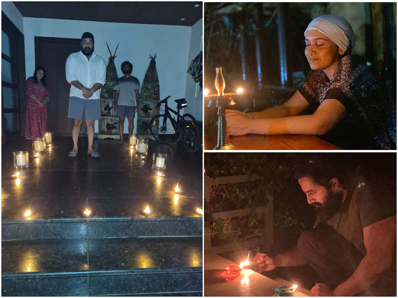Mohanlal, Dulquer Salmaan, Unni Mukundan and other M-Town celebs light lamps to express their solidary with PM Narendra Modi's #9baje9minute initiative