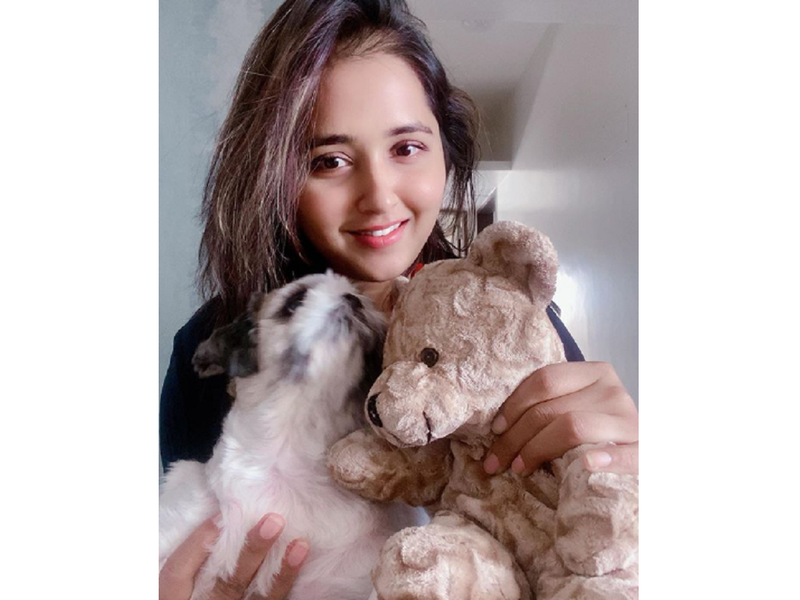 Kajal Raghwani poses for a happy click along with her teddy and pet dog