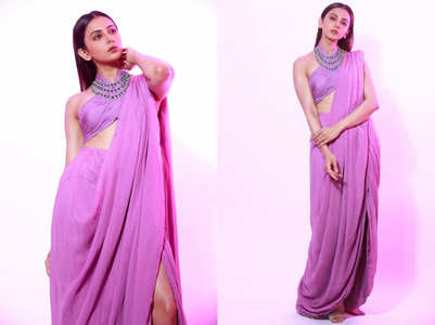 Did you miss Rakul Preet Singh's thigh-high slit sari with a halter neck blouse?
