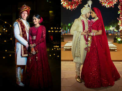 This beautiful bride got inspired by Priyanka Chopra's wedding lehenga and designed her own wedding outfit for her Indo-American wedding