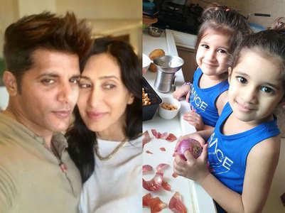Karanvir's twin girls turn 'kitchen helpers'