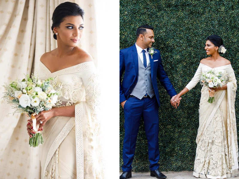 This Sri Lankan bride wore an off-white Indian sari for her wedding and she looked beautiful