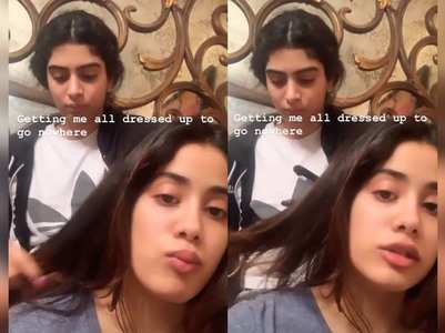 Janhvi gets her hair done from sister Khushi