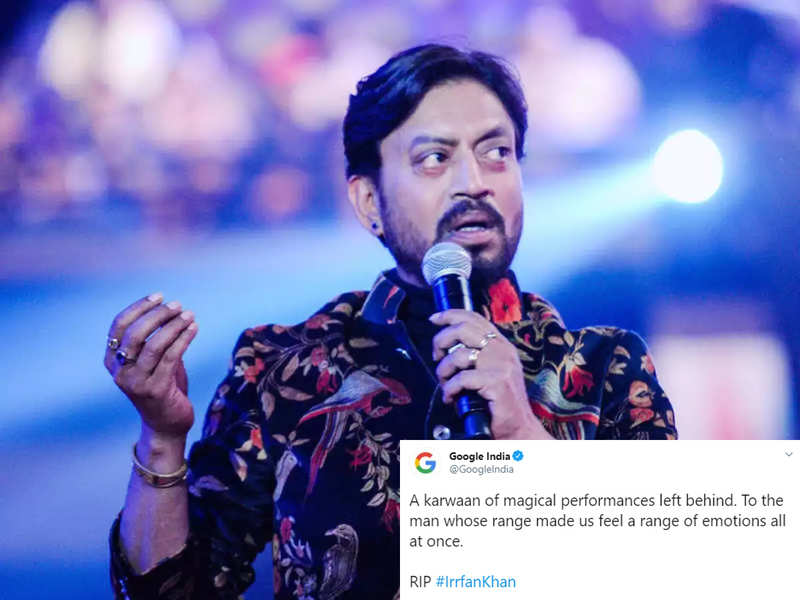 """Google pays tribute to Irrfan Khan, describes him as """"the man whose range made us feel a range of emotions all at once"""""""