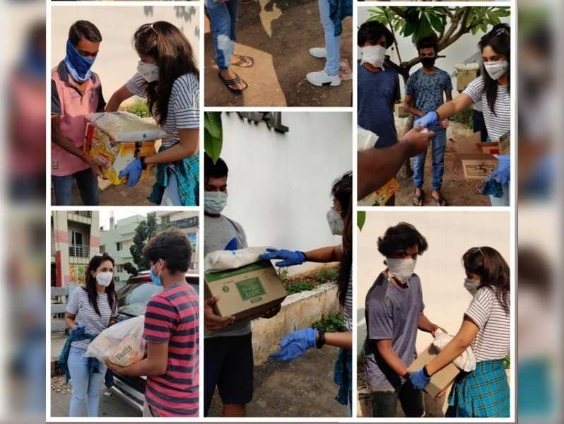 Kaavya Shastry distributes essentials to film technicians and the transgender community