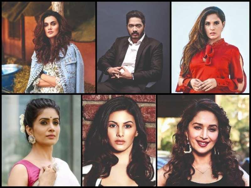 (Clockwise) Taapsee Pannu, Shreyas Talpade, Richa Chadda, Madhuri Dixit Nene, Amyra Dastur and Sonali Kulkarni
