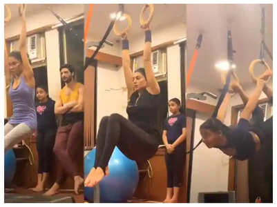 Sushmita exercises with daughters and Rohman