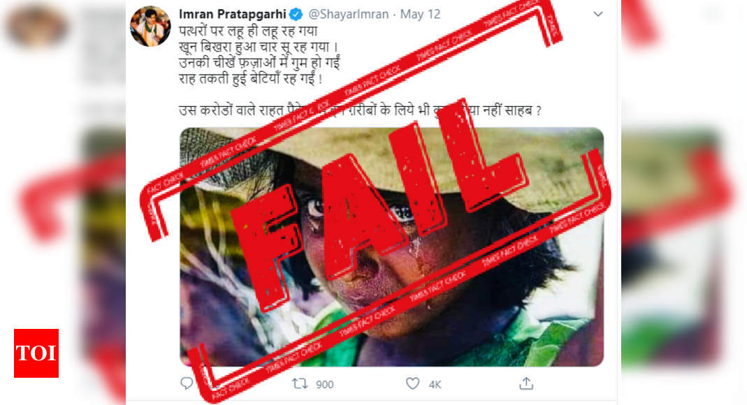 FAKE ALERT: Poet Imran Pratapgarhi uses old photo of Rohingya girl to criticize PM Modi – Times of India