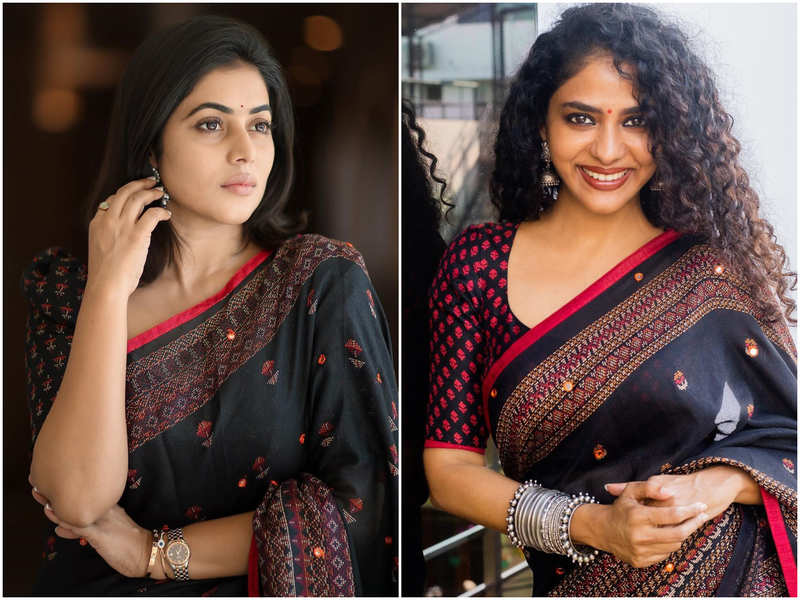 Fashion faceoff: Poornima Indrajith or Shamna Kasim, who wore the black and red saree better?