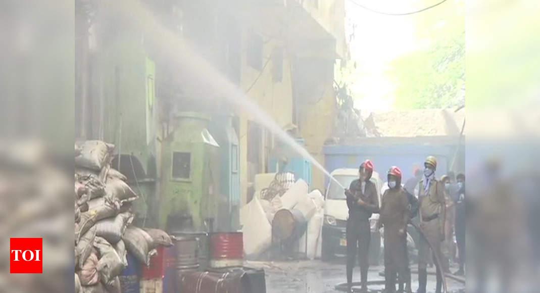 Fire in footwear factory in Delhi's Keshavpuram