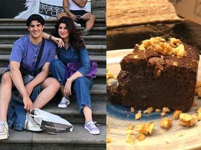 Twinkle shares a sweet post as son bakes a cake