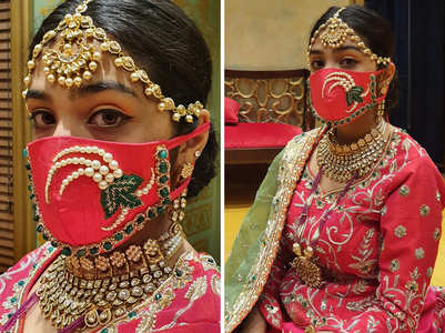 #LockdownFashion: Jaipur brides are matching masks with their lehengas