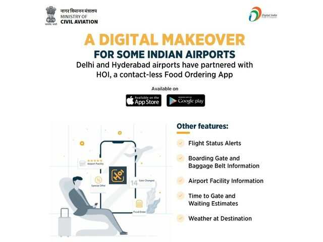 Delhi and Hyderabad airports partner HOI app for contact-less food delivery