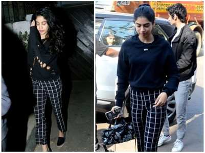 Janhvi-Khushi sport the checkered pants look