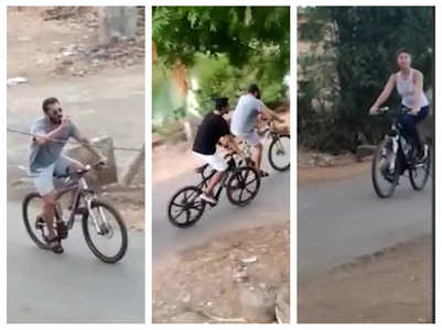 Salman-Jacqueline spotted cycling in Panvel