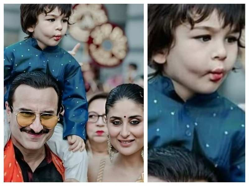 Taimur Ali Khan's pout has all our attention in this throwback picture of the cutie pie with Kareena Kapoor and Saif Ali Khan