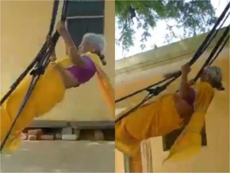 76-year-old grandmom sings and plays while standing on a swing; Internet calls her a 'fitness icon'