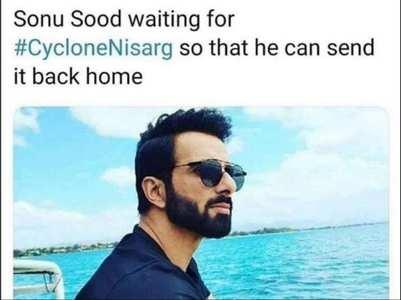Sonu Sood reacts to #CycloneNisarga meme