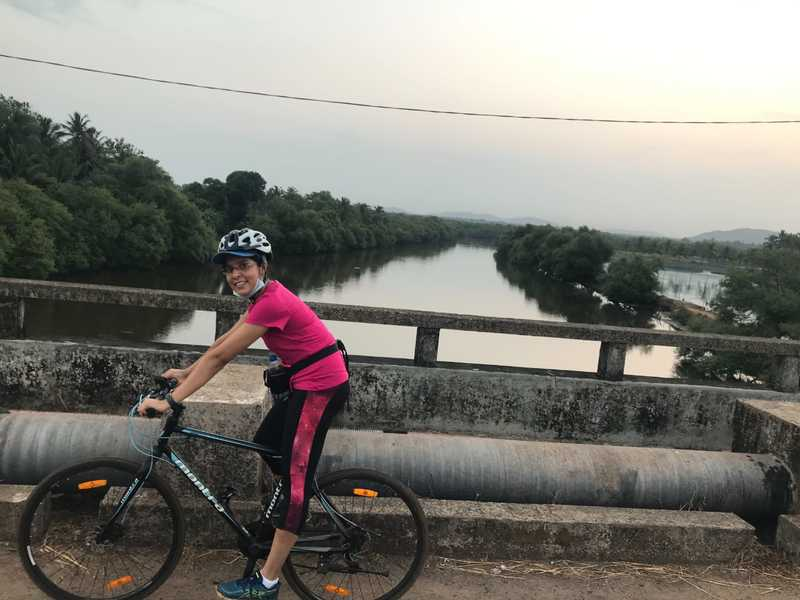 Blanche Themudo rides to work from Colva to Navelim