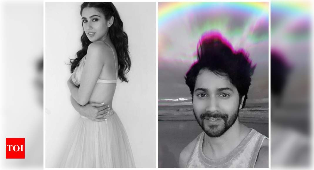 Photo of Sara Ali Khan pulls her 'Coolie No.1' co-star Varun Dhawan's leg as he shares a selfie with a rainbow