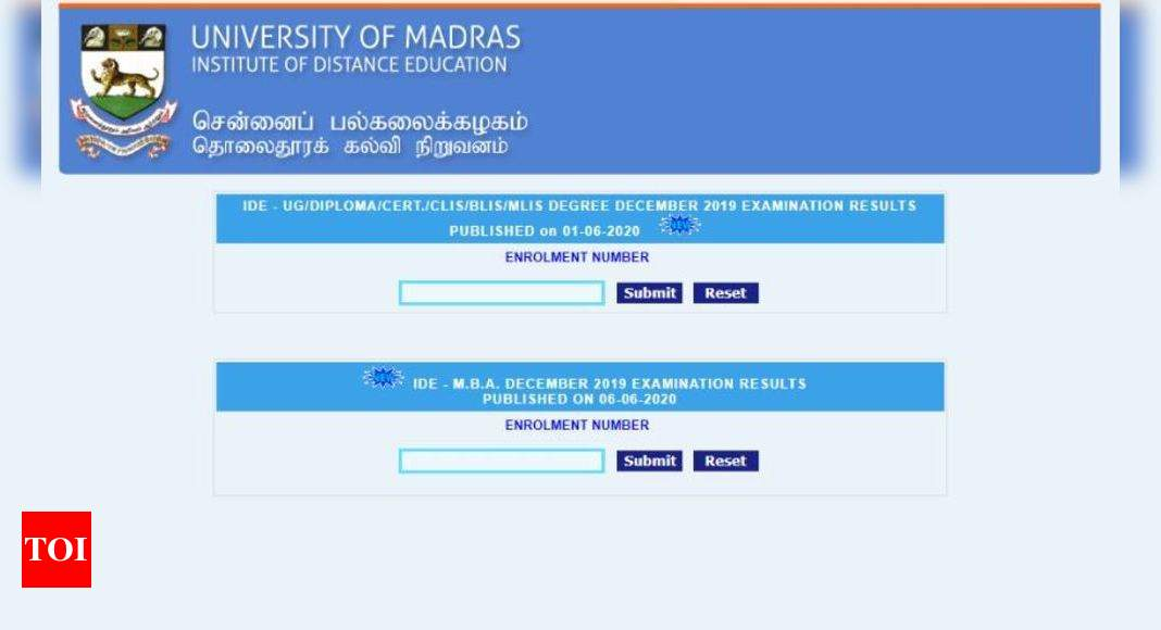 IDEUNOM MBA Exam Result: Madras university distance education results declared for MBA December exams