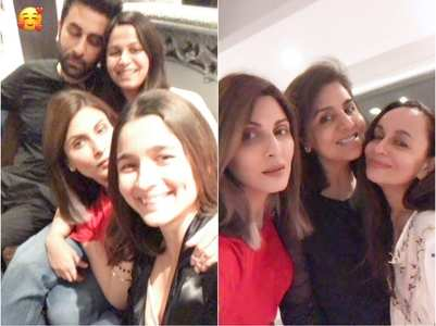 Pics: Alia & Ranbir enjoy family night