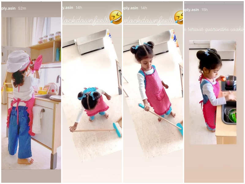 Narendran Makan Jayakanthan Vaka: Asin's daughter Arin is a hit on social  media with her cooking and cleaning photos   Tamil Movie News - Times of  India