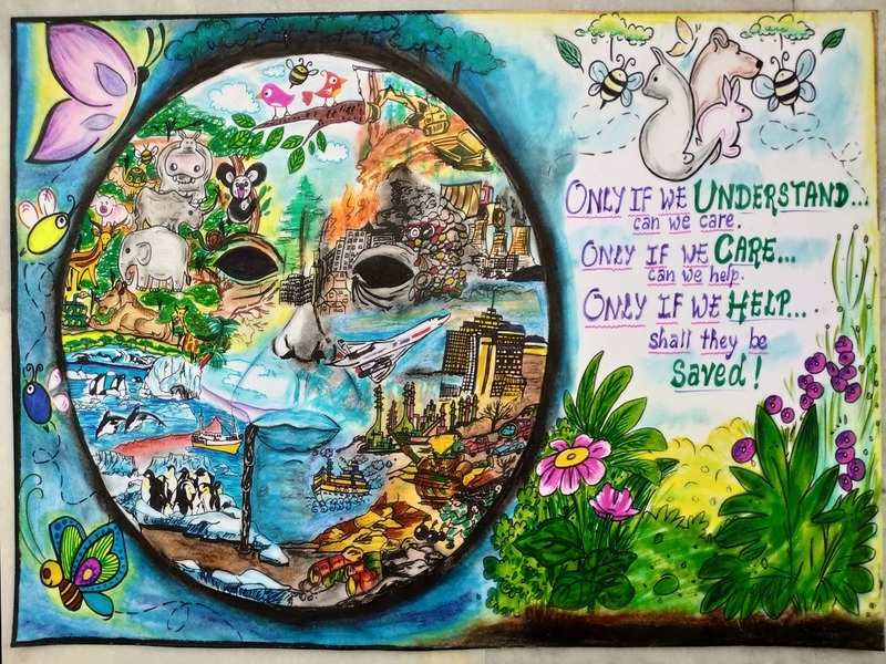 An award-winning painting by class XII student Pooja