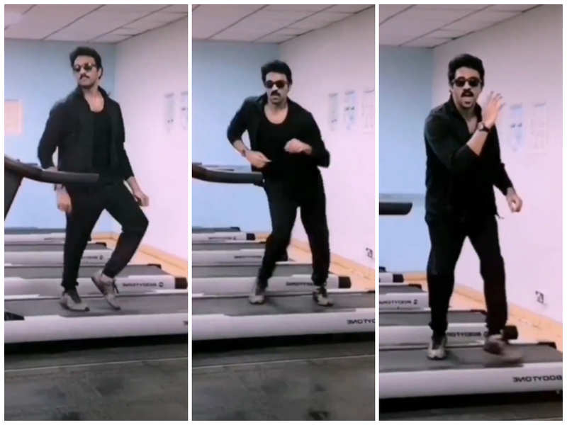 Actor Ashwin shakes a leg for Vijay's 'Vaathi Coming' on a treadmill