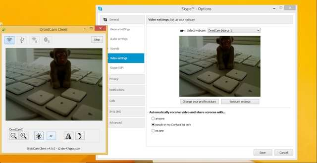 Tools to turn your smartphone into webcam