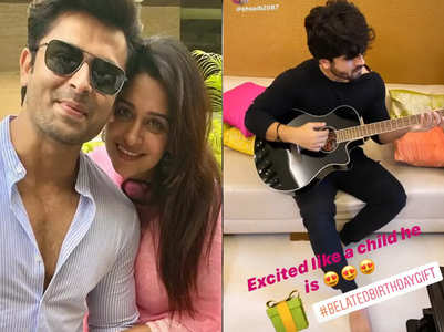 Dipika gifts a guitar to Shoaib on his b'day