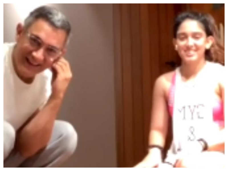 Watch: Aamir Khan crashes daughter Ira Khan's live workout video and it is simply hilarious