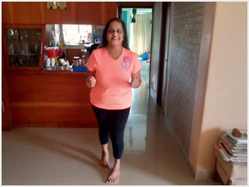 Participant Suvarna Joshi does the virtual run for a cause at home