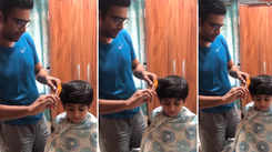 Actor Sandeep Pathak turns barber for his son