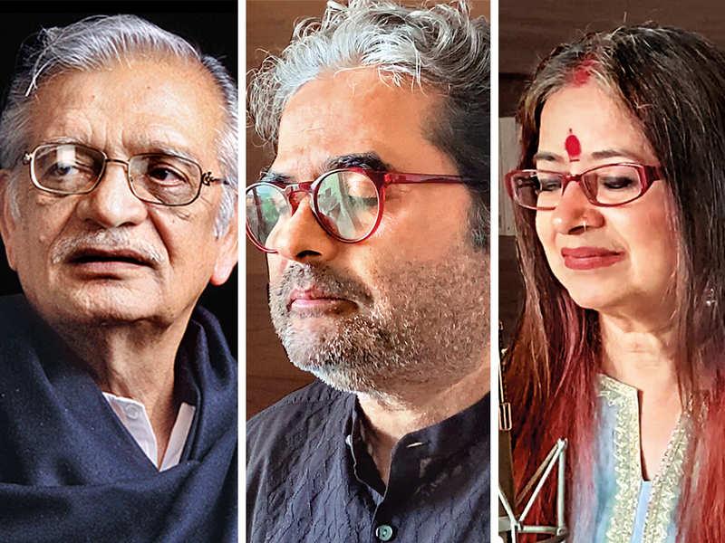 The song has (L-R) Gulzar, Vishal Bhardwaj and Rekha Bhardwaj collaborating from their homes