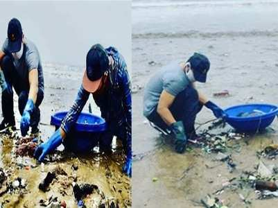 Pics: Randeep helps cleaning the Versova beach