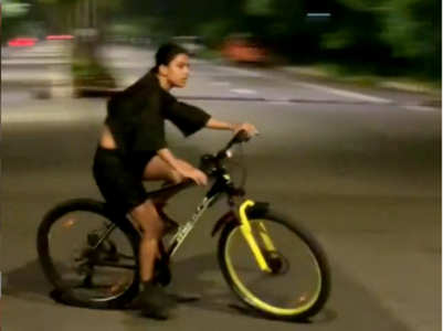 Nia Sharma goes for a cycle ride at night