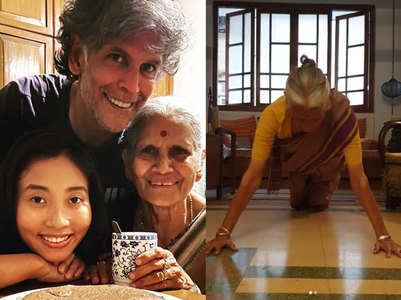 Milind Soman's mother celebrates 81st b'day