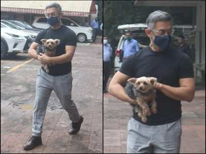 Pictures: Aamir Khan spotted with his pet dog