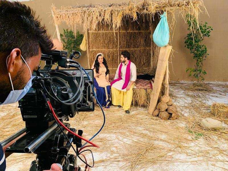 Set of a Punjabi TV show after shooting resumed in Mohali