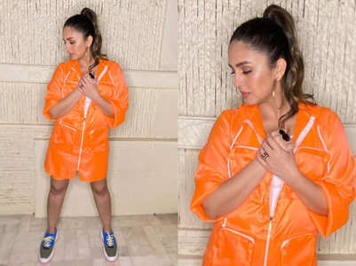 Huma Qureshi wore a neon orange windcheater dress and it's the hottest trend this monsoon