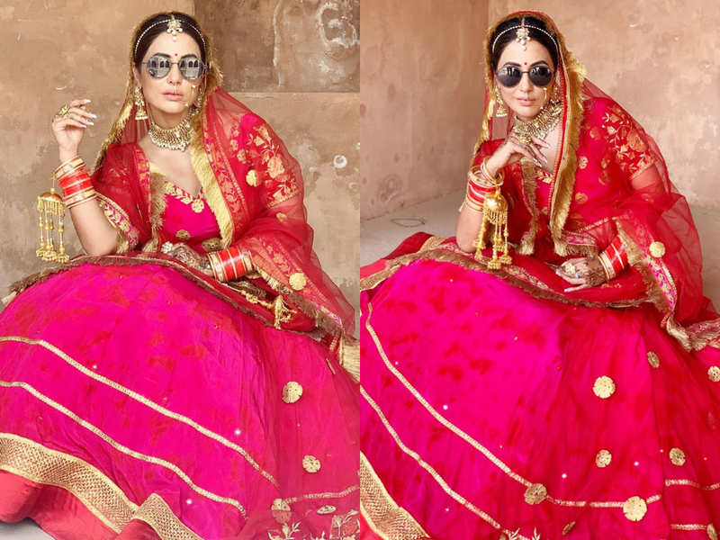 Hina Khan's pink and red bridal lehenga is breaking the internet