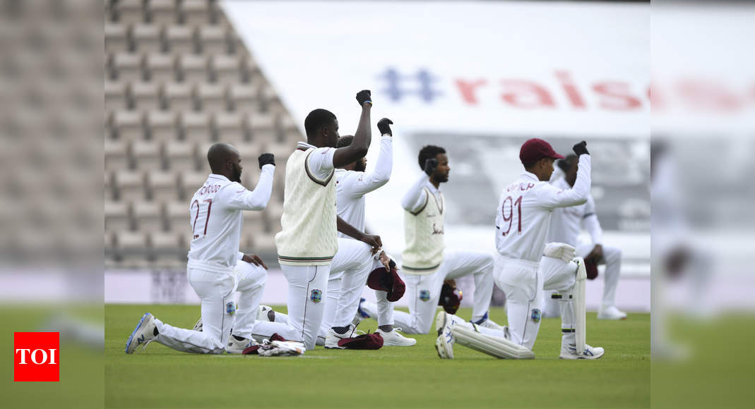 News Sports News Cricket News England vs West Indies, 1st Test: England and Windies players take a knee in Southampton