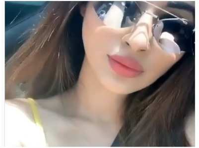 Mouni enjoys a car ride on a bright sunny day