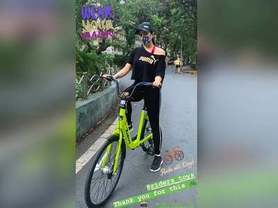 Photo: Sara steps out for a cycling session